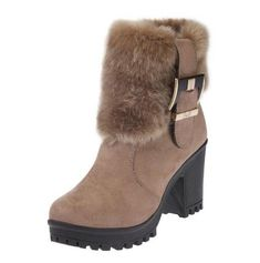 845f1191820c LAKESHI Ankle Boots For Women 2018 New Women Boots Winter Warm Fur Boots  Women s Suede Snow Boots Thick High Heel Round Toe