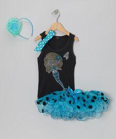 Take a look at this Aqua Polka Dot Mermaid 4 Tutu Set - Girls on zulily today!
