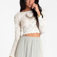 Morning Frost Crop Top - $32.00 : ThreadSence, Shop women's indie and bohemian clothing at ThreadSence.com, featuring cool brands like MINKPINK, Motel, Vanessa Mooney, Unif, For Love & Lemons, Stylestalker & more!