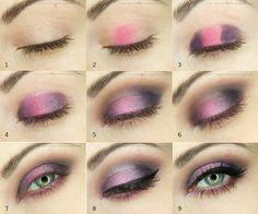 ...Bo w oczach tkwi siła duszy...: Oszałamiający fiolet - makijaż krok po kroku
