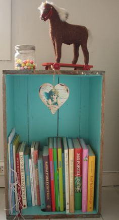 crate as nightstand...stain the outside and paint the inside!