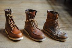 Red Wing boots from new to intense wearing Red Wing Boots, Me Too Shoes, Men's Shoes, Shoe Boots, Wing Shoes, Man Boots, Red Wing 877, Red Wing Moc Toe, Fashion Boots