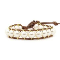 Cream Pearl Single Wrap Bracelet on Natural Brown Leather