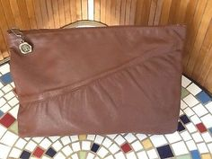Vintage Chocolate Brown Leather Clutch Made in Florence Italy GUC L K | eBay