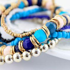 Blue Multilayer Bead Elastic Bracelet