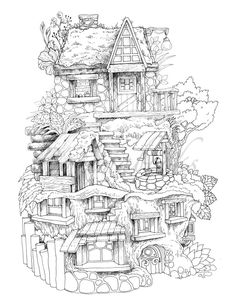 Nice Little Town 8 (Adult Coloring Book, Coloring pages PDF, Coloring Pages Prin. Nice Little Town Detailed Coloring Pages, Printable Adult Coloring Pages, Cute Coloring Pages, Coloring Pages To Print, Free Coloring, Coloring Books, Kids Coloring, Colouring Pages For Adults, Tumblr Coloring Pages
