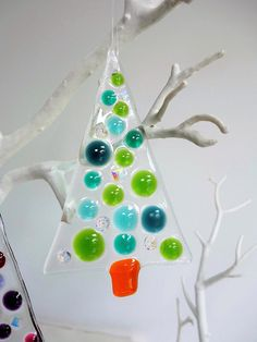 Fused Glass Christmas Tree Decorations     10 x 6 cm