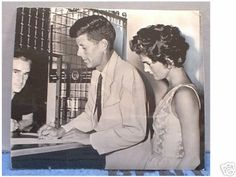 Jack and Jackie applying for their wedding license. Jack borrowed the jacket and tie.
