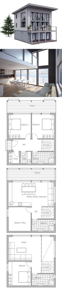 Narrow Lot House Plan 056h 0005 Modern Too Busy But