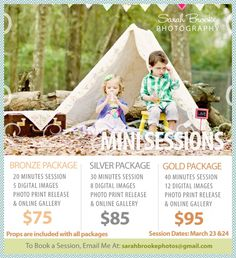 Great guideline for mini sessions. Photography Mini Sessions, Holiday Photography, Spring Photography, Photography Pricing, Photography Marketing, Photoshop Photography, Photography Backdrops, Photography Business, Love Photography