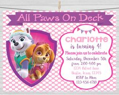 Hey, I found this really awesome Etsy listing at https://www.etsy.com/listing/255065069/paw-patrol-girls-invitation-paw-patrol