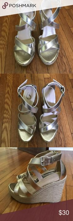 Banana Republic Gold Wedges Banana Republic Gold wedges || only worn a few times || size 6 Banana Republic Shoes Wedges