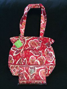 NWT Vera Bradley Rosy Posies Laura Purse Handbag Turn Lock Wallet Combo Set   VeraBradley   312fcb0571b6c