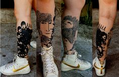 Beatles tattoo leg Love the idea of doing your favorite album covers Beatles Tattoos, Music Tattoos, Leg Tattoos, Sleeve Tattoos, Trendy Tattoos, Tattoos For Women, Tattoos For Guys, Revolver Tattoo, London Tattoo
