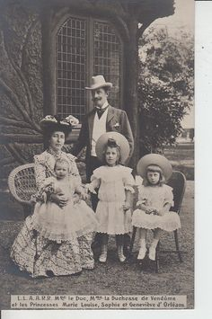 The Duke and Duchess of Vendome (neé Princess Henriette of Belgium) and daughters, Marie Louise, Sophie and Genevieve. Franz Josef I, Royals, French Royalty, Herzog, Framed Prints, Canvas Prints, Portraits, Madame, Duke And Duchess