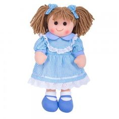 Beautiful rag doll available in a blue dress or a slightly lighter yellow and white number. Each one can have any name written onto the front of the dress. Plush Dolls, Doll Toys, Baby Dolls, Amelia, Raggedy Ann And Andy, Imaginative Play, Pop Up, Kids Toys, Personalized Gifts