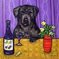 boston terrier DOG ART PRINT abstract folk pop ART JSCHMETZ 13x19 dog bowl gift