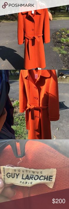 Guy Laroche Orange vintage long coat Beautiful long Guy Laroche orange coat !! Size 6-8US. Vintage. Good condition, but has a small section on the right lower end with minor damage. Seen in 4th and 5th photos. Not very noticeable. Has a wrap around belt guy laroche Jackets & Coats