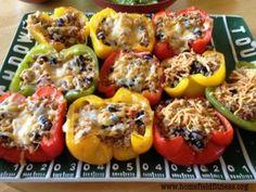 Quinoa & Turkey stuffed peppers - GameDay Style! #homefieldfitness