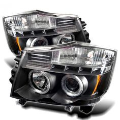 Spyder Auto PRO-YD-NTI04-HL-BK | 2005 Nissan Titan Black LED Halo Projector Headlights for SUV/Truck/Crossover