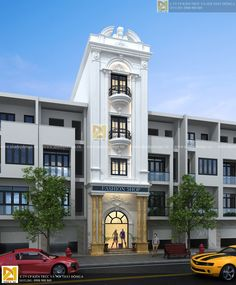 Nhà phố 4 tầng tân cổ điển KT - 595 Front Elevation Designs, House Elevation, Beautiful Architecture, Architecture Design, Classic Building, Narrow House, Street House, Building Facade, Mediterranean Homes