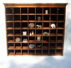 Vintage 56 Cubby Wood Postal Cabinet / Divided Mail Sorter / Collection Display Cabinet / Divided Storage Cabinet / Tabletop Divided Cabinet