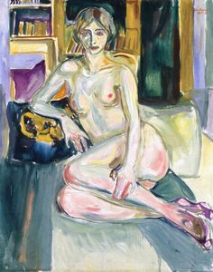Edvard Munch - Nude, Sitting on the Couch. 100 x 80 cm, Oil on canvas, Munch Museum, Oslo Edvard Munch, Figure Painting, Painting & Drawing, Amedeo Modigliani, Manet, Oil Painting Reproductions, Art Moderne, Henri Matisse, Life Drawing