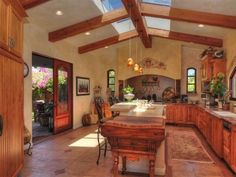 Love the skylight and the Southwest vibe. w.com CEILING OF KITCHEN