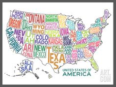 United States of America Stylized Text Map Colorful Art Print. Save up to 40% for a limited time at Art.com.