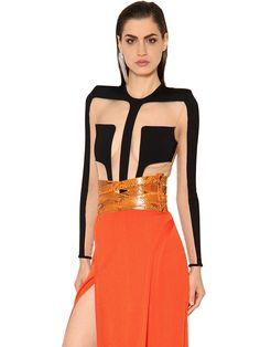 Balmain Cutout Milano Jersey Bodysuit In Black Balmain Dress, Black Bodysuit, Shapewear, Latest Fashion Trends, Peplum Dress, Cool Outfits, Two Piece Skirt Set, Long Sleeve, Shopping