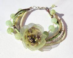 Mint Green Leather Wrap bracelet Dark Brown by ArilelJewelry