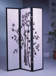 3 Panel Black Bamboo Print Oriental Shoji Screen / Room Divider by Best Deal Stores, http://www.amazon.com/dp/B0014ZR544/ref=cm_sw_r_pi_dp_qCE8qb112CPEG