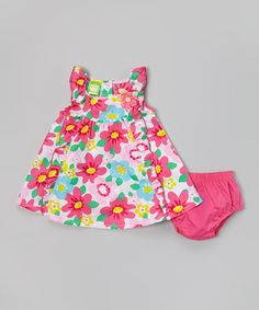 Look what I found on #zulily! Pink Floral Ruffle Dress & Diaper Cover - Infant & Toddler #zulilyfinds