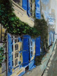"Daily Paintworks - ""Blue Shutters"" - Original Fine Art for Sale - © Nan Johnson"