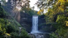 Cool Minnehaha Falls, setting sun through the mist, and fall colors Check more at http://cooldigitalphotography.com/nature-shots-of-the-week-october-20-2014/
