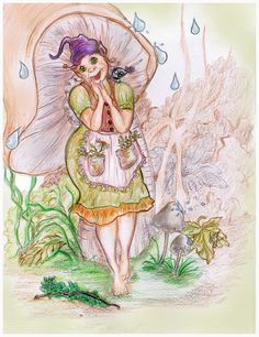 """Happy in the rain"", illustration by Yulia Potts Rain Illustration, Illustrations, Princess Zelda, Happy, Fictional Characters, Art, Art Background, Illustration, Kunst"