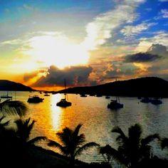 Virgin Gorda in the British Virgin Islands at sunset.