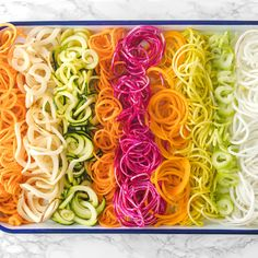 Get tips for making veggie noodles using a spiralizer, the best vegetables for spiralizing, delicious recipe ideas, plus ways to spiralize without a spiralizer. Zoodle Recipes, Spiralizer Recipes, Veggie Recipes, Healthy Recipes, Best Spiralizer, Veggie Meals, Healthy Foods, Keto Recipes, Spiral Vegetable Recipes