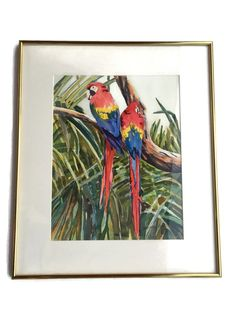 Parrot Painting Original Signed Watercolor Framed | Etsy Parrot Painting, Bear Signs, Arches Watercolor Paper, Vintage Hotels, Vintage Picture Frames, In The Tree, Pin Collection, Original Paintings, Frame Gallery