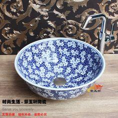 Art basin blue and white bitter ceramic basin wash basin wash basin US $38.66