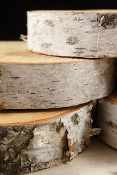 "These are perfect for a fall vow renewal!    Natural Birch Tree Slices 6-8"" wide $16 each (2"" thick)    These are made from natural wood. Each is unique. Size ranges from 6-8"" wide. Use to hold candles, vases, cupcakes, and more. Birch bark attached. 2"" thick ."