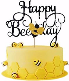 LaVenty Bumble Bee Cake Topper Happy Bee Day Cake Topper Bee Cake Topper for Bumble Bee Themed Happy Birthday Party Supplies Decorations Bee Birthday Cake, Bumble Bee Birthday, Happy Birthday Cake Topper, Themed Birthday Cakes, Birthday Party Decorations, Party Themes, 13th Birthday, Cake Decorations, Birthday Bash