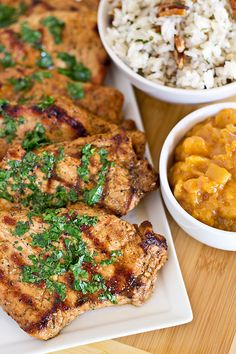 Grilled Pork Chops with Summer Peach Chutney and Toasted Pecan Rice.