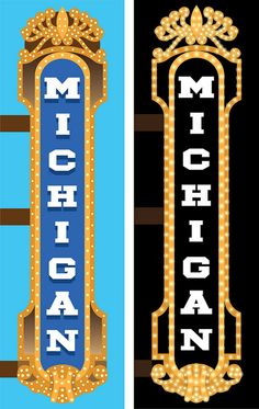 Graphics of the Michigan Theater Marquee in Ann Arbor, Michigan