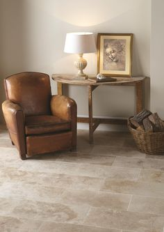 Filled and honed Umbrian Gold travertine tiles look beautiful on floors.