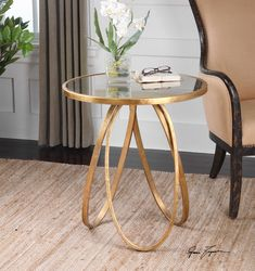 Glitz, glamour, and practicality, the Montrez Gold Accent Table will be the jewel of your room. The base of this accent table was inspired. Gold Accent Table, Mirrored Accent Table, Accent Tables, Accent Table Decor, Gold Accent Decor, Gold End Table, Best Online Furniture Stores, Furniture Websites, Accent Furniture