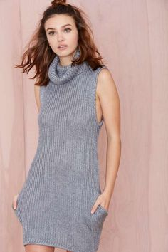 Bless'ed Are the Meek Vertical Knit Dress - Gray