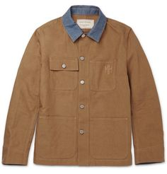 Maison Kitsuné Denim-Trimmed Cotton and Linen-Blend Canvas Jacket