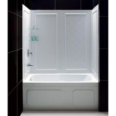 Buy the DreamLine White Direct. Shop for the DreamLine White Shower Wall for Tub Trim-to-Size x x Includes Back & Side Walls and save. Bathtub Wall Surround, Bathtub Walls, Shower Surround, Shower Walls, Bathtub Tile, Shower Wall Kits, Bathtub Shower Combo, Shower Door, Shower Inserts