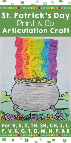 This St. Patrick's Day articulation craft is the perfect print and go speech therapy activity for busy SLPs. - Twenty-two sounds targeted - Thirty targets per sound - Print & go craft - Quick, easy, and engaging